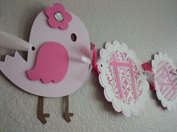 A Little Bird Happy Birthday Banner by SweetBugABoo on Etsy, $38.00