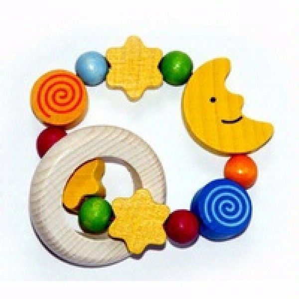 Moon & Stars Rattle - Wooden Grasping Toy