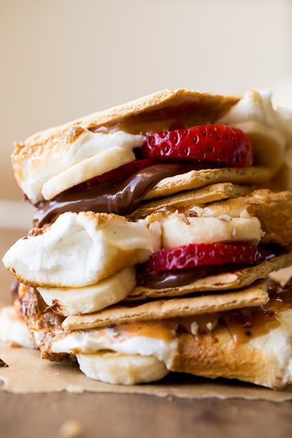 delicious s'mores ideas -strawberries, bananas, chocolate, caramel sauce, pecans/almonds