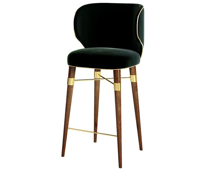With a gentle velvet and a contrasting golden cord, a classic design radiates from this chair's modern lines. The Louis bar chair rests on solid walnut legs with Ottiu's signature brass accents.