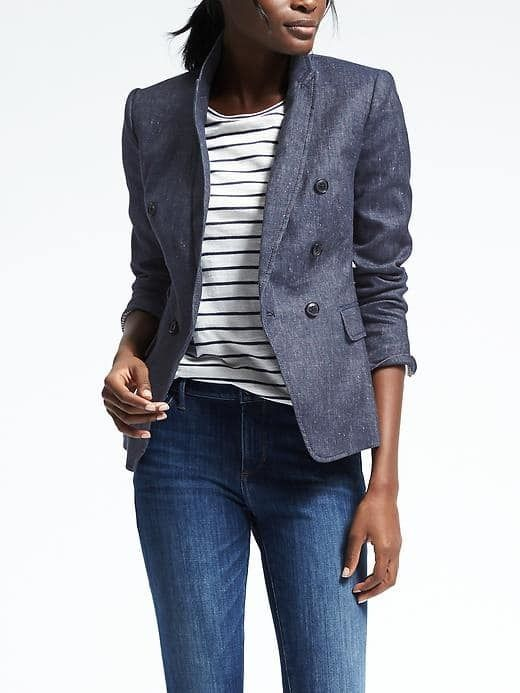 Double-Breasted Chambray Blazer