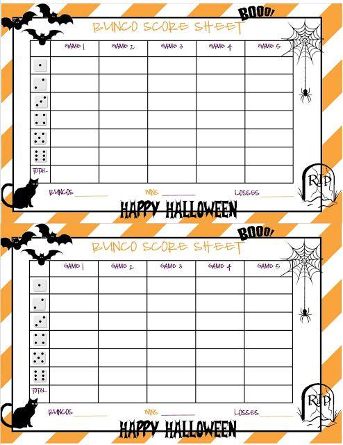 Recipes from Stephanie: Halloween Bunco Sheet