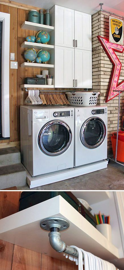 10 Awesome Ideas for Tiny Laundry Spaces • Love the hangers right above the washer. | Tiny Homes
