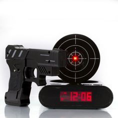 Shooting Laser Toy Gun Alarm Clock Target Panel Shooting LCD Screen Toy Games Gifts Black