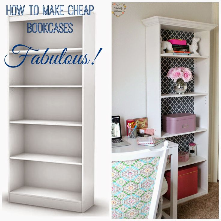 How to take cheap $30 dollar bookcases and make them gorgeous with crown molding and wrapping paper! Such a small change makes a huge impact.