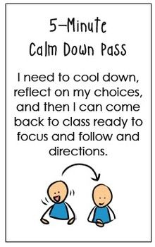 "This document contains 3 hallways passes that can be used as part of a Buddy Classroom Behavior Management System. Students can be given the pass when they need to visit a Buddy Classroom or the school office for any reason. There is a 5-minute ""Cool Down"" pass, a 10-minute ""Work Time"" pass, and a 15-minute ""Intervention/Mediation"" pass."