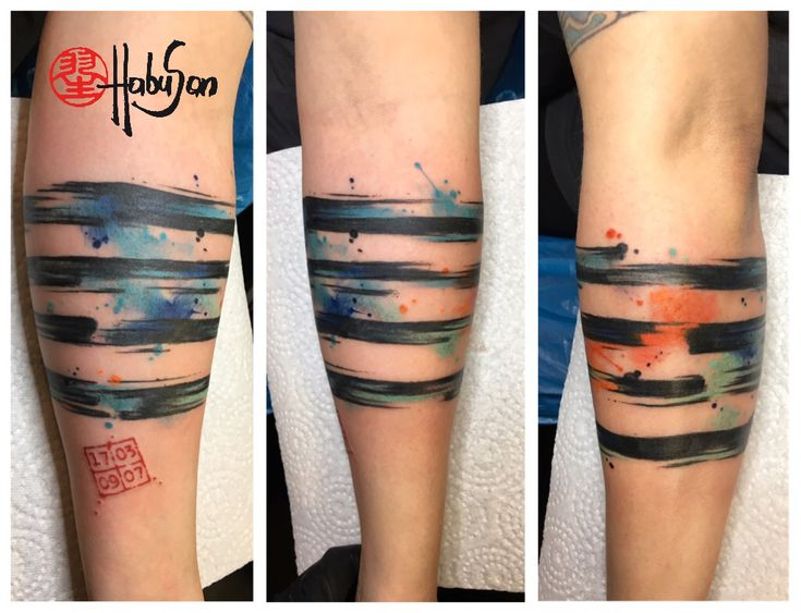 Ringe um den Arm im Kalligrafie und Watercolour Stil! #watercolourtattoo #Tattoo #wien #habusan