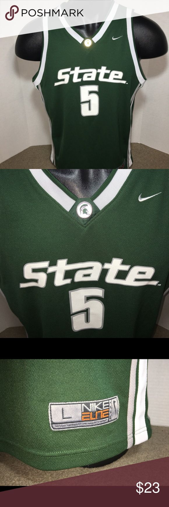Nike Michigan State Spartans Basketball Jersey LG Excellent condition. Printed numbers, letters and logos. Nike Elite Michigan State Spartans Basketball Jersey. Men's Size Large. Home Jersey. Nike Other