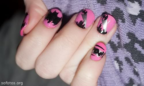 unhas decoradas rosa