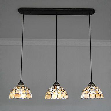 8 Inch 3 Lights Retro Tiffany Pendant Lights Shell Shade Living Room Dining  Room Light Fixture
