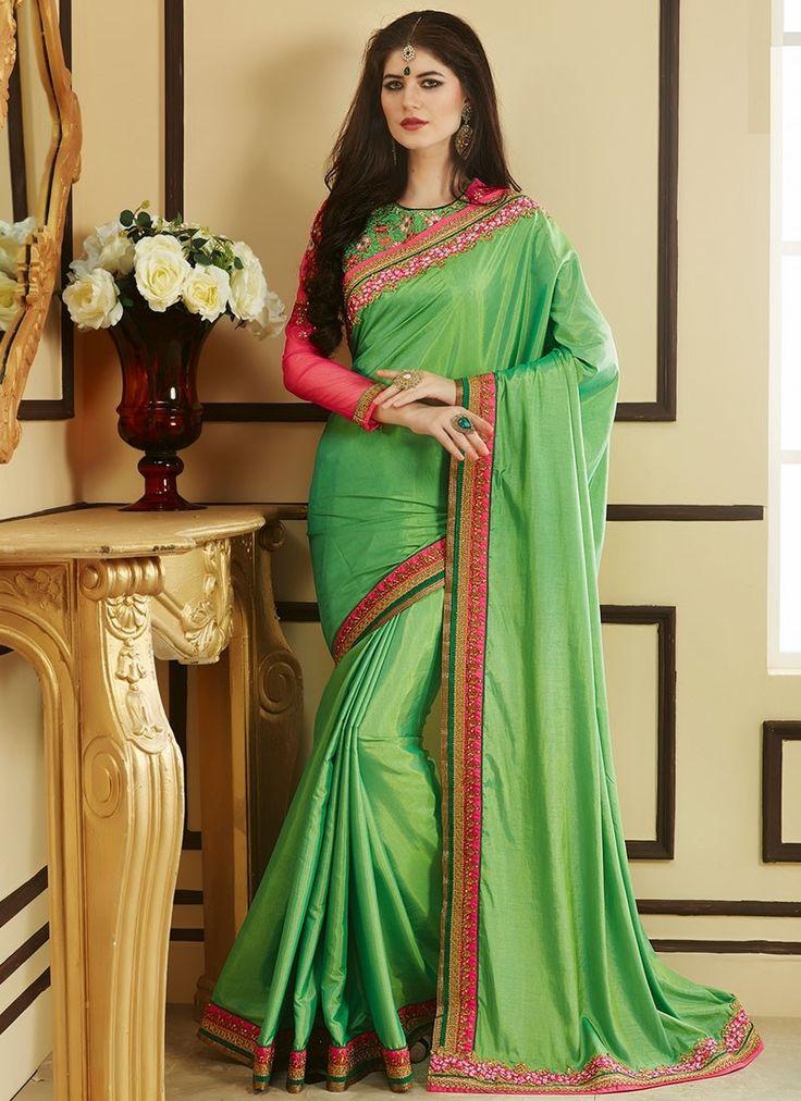 Shop Online Green Georgette #DesignerSarees @Chennaistore.com
