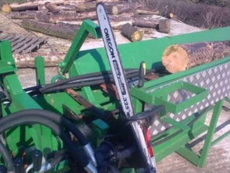 Firewood Processor by ferguson -- Homemade firewood processor consisting of a conveyor assembly operating in conjunction with a hydraulic chainsaw and a ram-driven wedge. http://www.homemadetools.net/homemade-firewood-processor