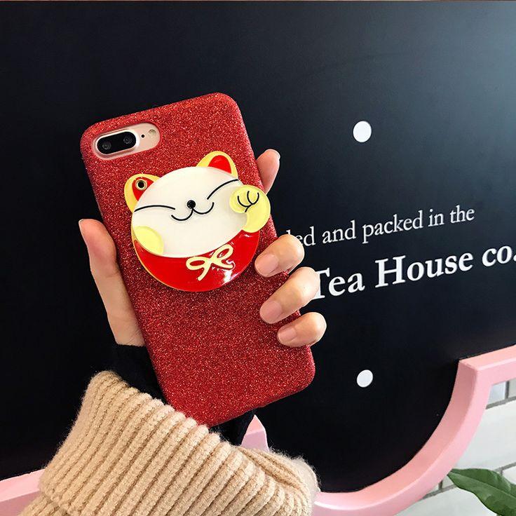 Mirror Lucky Cat Flashing Soft Case for Apple iPhone 6 Capas for iPhone7 7plus 6splus 6s Lovely Tide Cartoon Glitter Case