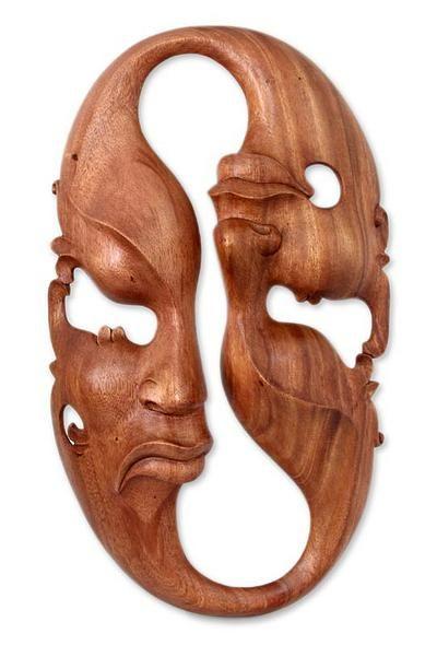 Wood mask, 'Emotional Duality' by NOVICA