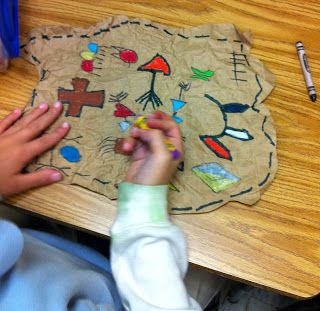 love the idea of reusing brown paper grocery bags to create fake animal skin for a Native American lesson