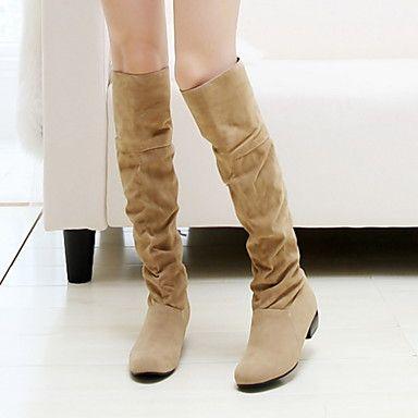 se queda atrás de la rodilla de gamuza tacón grueso zapatos botas altas de las mujeres (más colores) – USD $ 34.99