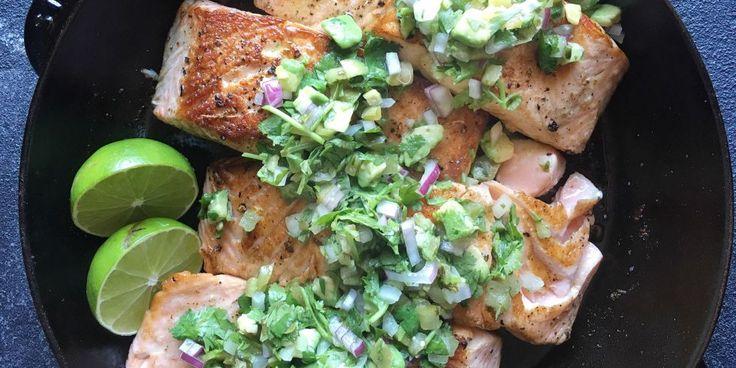 Seared Salmon with Avocado Salsa Verde Recipe