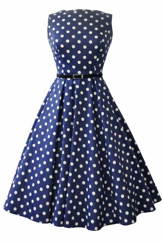 Lady V Navy Polka Dot Hepburn Dress | Jurken | Miss Vintage | Retro, vintage geïnspireerde dames kleding