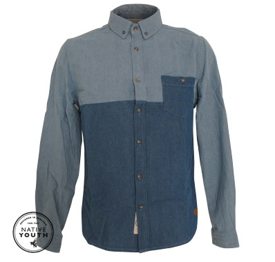 Native Youths Contrast Denim Cut and Sew shirt