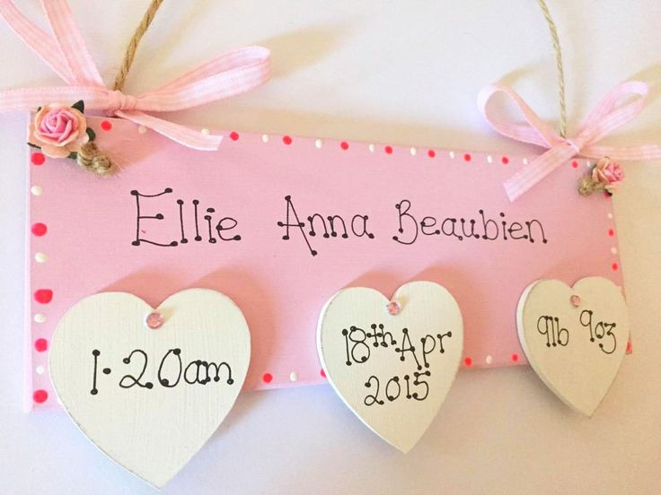 Best 25 personalised baby girl gifts ideas on pinterest personalised new baby plaque with wooden hearts in pink blue newborn baby girl giftsnewborn negle
