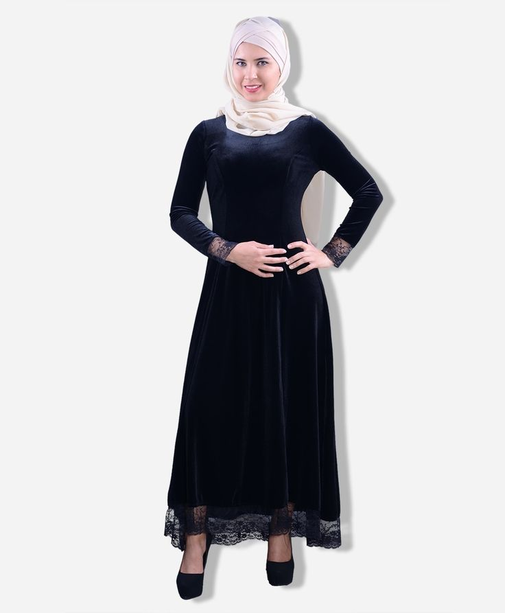 Eteği ve Kolu Dantelli Kadife Elbise  - BZ4196