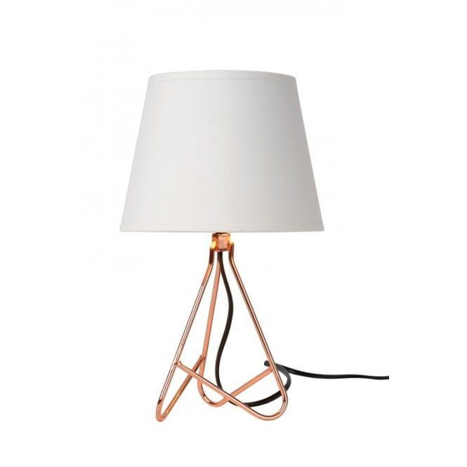 Lucide Gitta Modern Round Metal Copper And White Table Lamp With