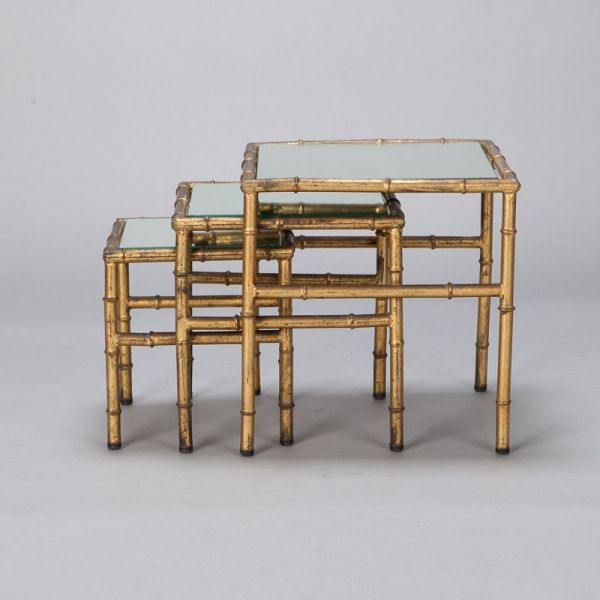 Charming Circa Set Of Italian Gilt Metal Nesting Tables With Mirrored Table Tops And  Faux Bamboo Style Base. Sold And Priced As A Set. Measurements Shown Are  For The ... Pictures