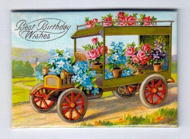 Calamita - Magnete da frigo - Buon Compleanno - Auto d'epoca con fiori - 2