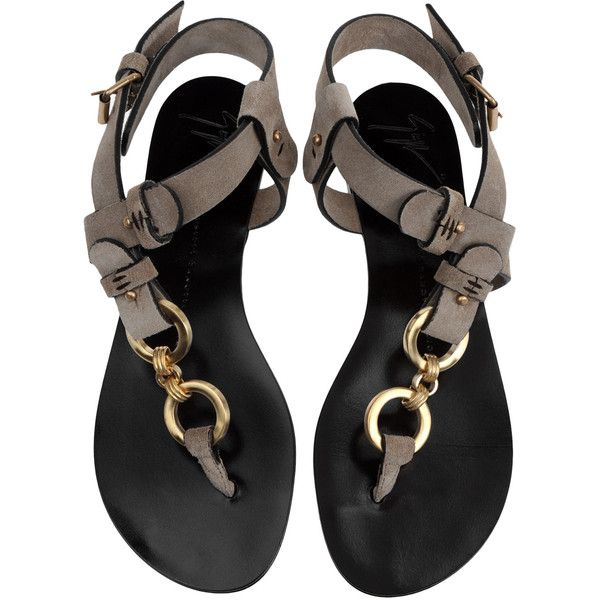 Sandals Women 385 CAD GIUSEPPEZANOTTIDESIGN.COM Sand colored split leather sandals with brushed brass rings. The asymmetrical design of these ultra-chic sandals gives them a hand-crafted look. Composition: Leather more...