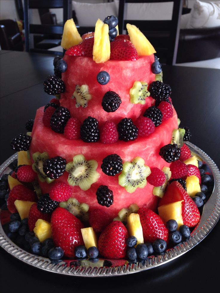 Our own birthday creation!  Watermelon fruit cake