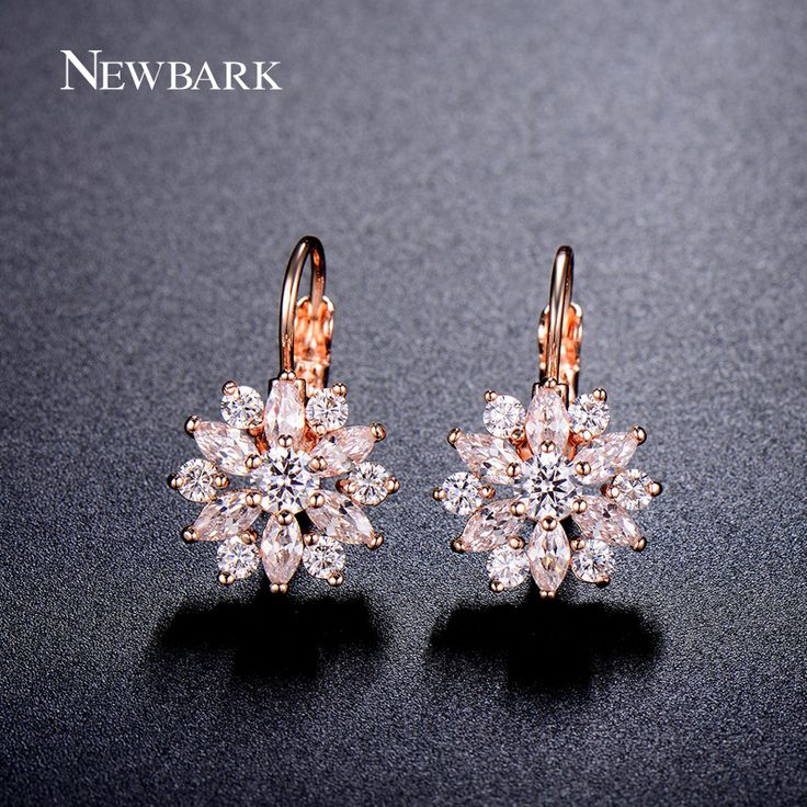 NEWBARK Luxury Ear Cuff Earrings For Women 6pcs Round And Marquise CZ Formed Brilliant Flower Stud Earrings Women Jewelry Gift