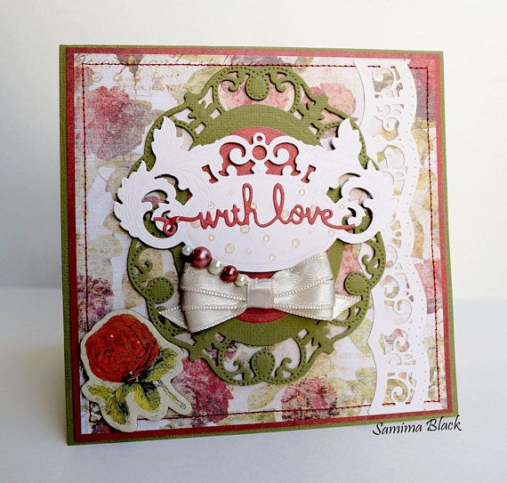 All Occasion Card Handmade Shabby Chic Card Card with