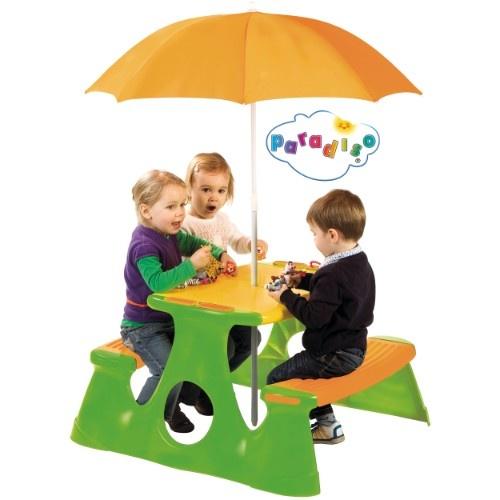 Picknicktisch mit Schirm von PARADISO    Lade deine Freunde und Geschwister zu einer tollen Gartenparty ein.  Am hochwertigen Picknicktisch von Paradiso haben bis zu 4 Kinder bequem Platz und Dank des Sonnenschirm können die Kleinen ohne Sorge bei schönstem Wetter spielen.    Mehr Infos und kaufen:  www.mytoys.de/Picknicktisch-mit-Sonnenschirm/Tische-B%C3%A4nke-St%C3%BChle/Gartenm%C3%B6bel/KID/de-mt.ha.ca02.02.01/2383250