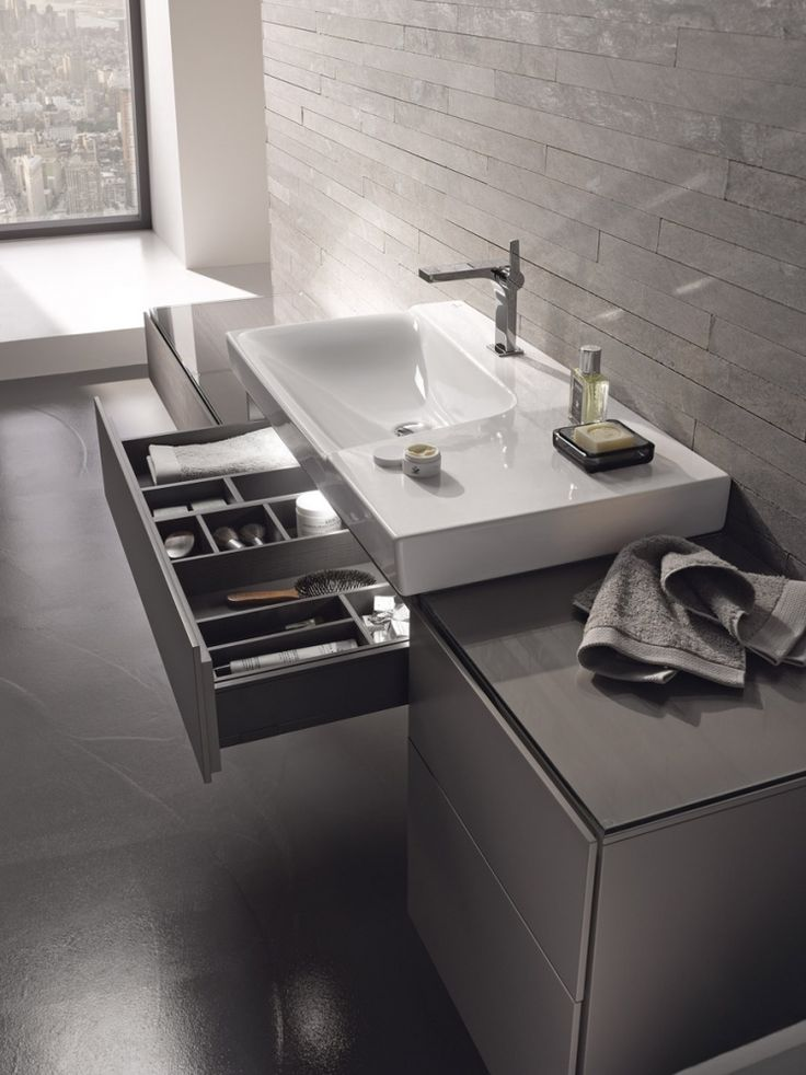 Xeno2 šedé zásuvky pod umyvadlem / bathroom furniture