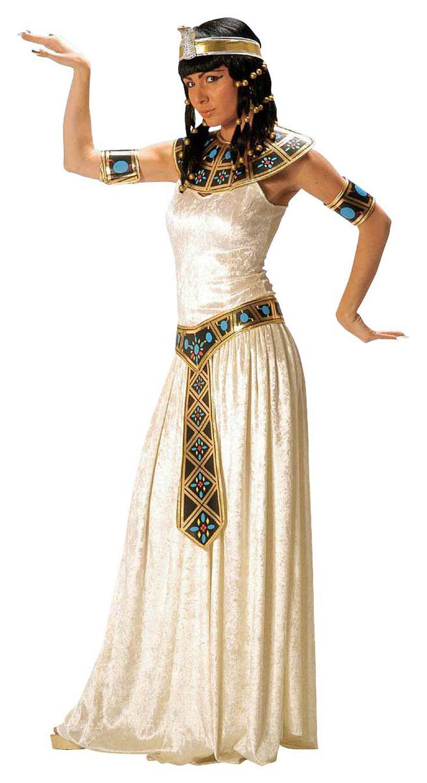 Disfraz de faraona egipcia para mujer: Disfraz de faraona egipcia compuesto por un vestido de imitación de terciopelo color blanco-crema. También incluye un collar, un cinturón y unos brazaletes de tela (cetro y...