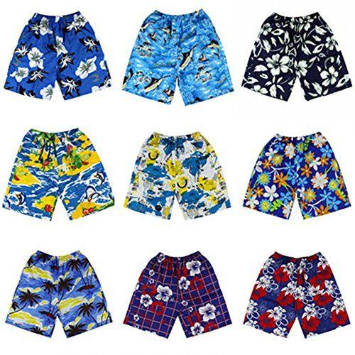 DZT Mens Elasticated Print Summer Holiday Hawaii Beach Surf Shorts Pants