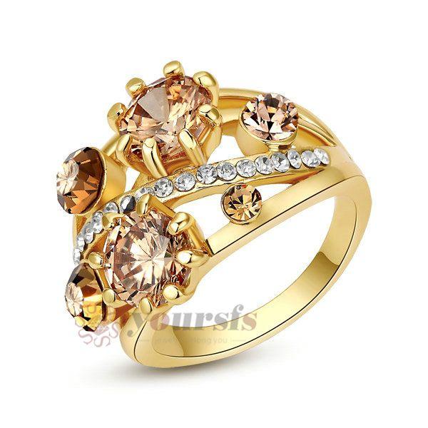VOGEM альянс Золото 585 Игристые Обручальные Кольца Для Женщин Желтый Камень Драгоценный Камень Топаз Обручальное Ringen Подарки Интернет-Магазины Индии
