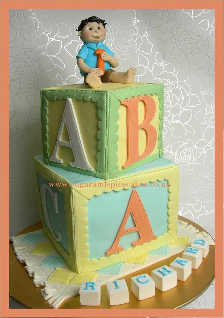 Baby ABC Blocks Cake  Designer Cakes, Cupcakes & Sugarcraft from wwwsugarandspicecakes.co.nz