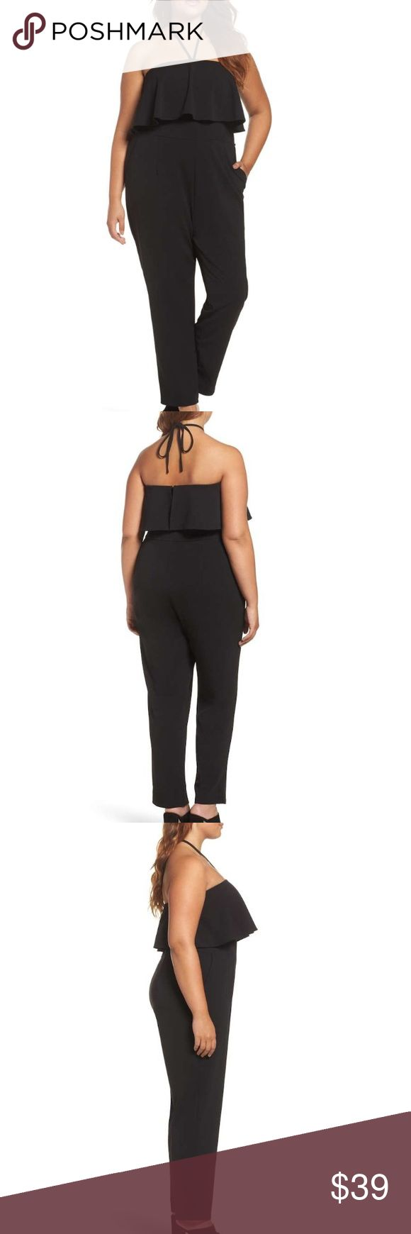 ❤️💗💜Ruffle halter neck black jumpsuit New arrival💜Enjoy sexy styles which are appropriate and fun for plus-sized ladies. I really love the styling. No trades. Negotiable. Glamorous Pants Jumpsuits & Rompers