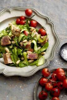 White Bean & Tuna Salad with Tomatoes on the Vine
