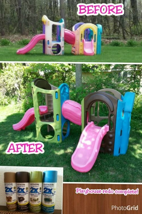 I love the bright colors used on this Plastic Playground Makeover and Little Tikes and Step2 Upcycle Ideas on Frugal Coupon Living - Recycle your kids toys and turn them into something fun and new!
