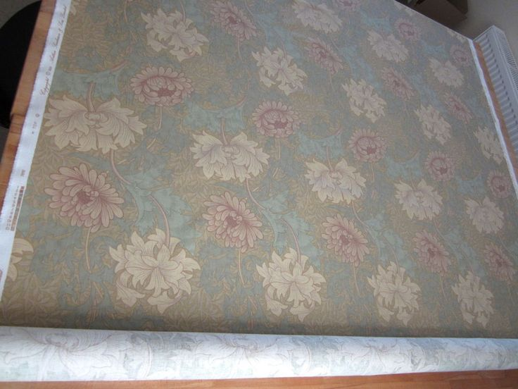 Vintage Sanderson Fabric CHRYSANTHEMUM Morris 5.9m Arts & Crafts green blue red