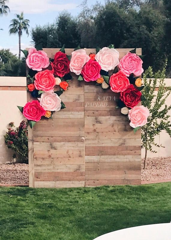 Giant paper flower wall display. Garden party decor. Alice in Wonderland photo booth. Wedding flower backdrop. Shop window display