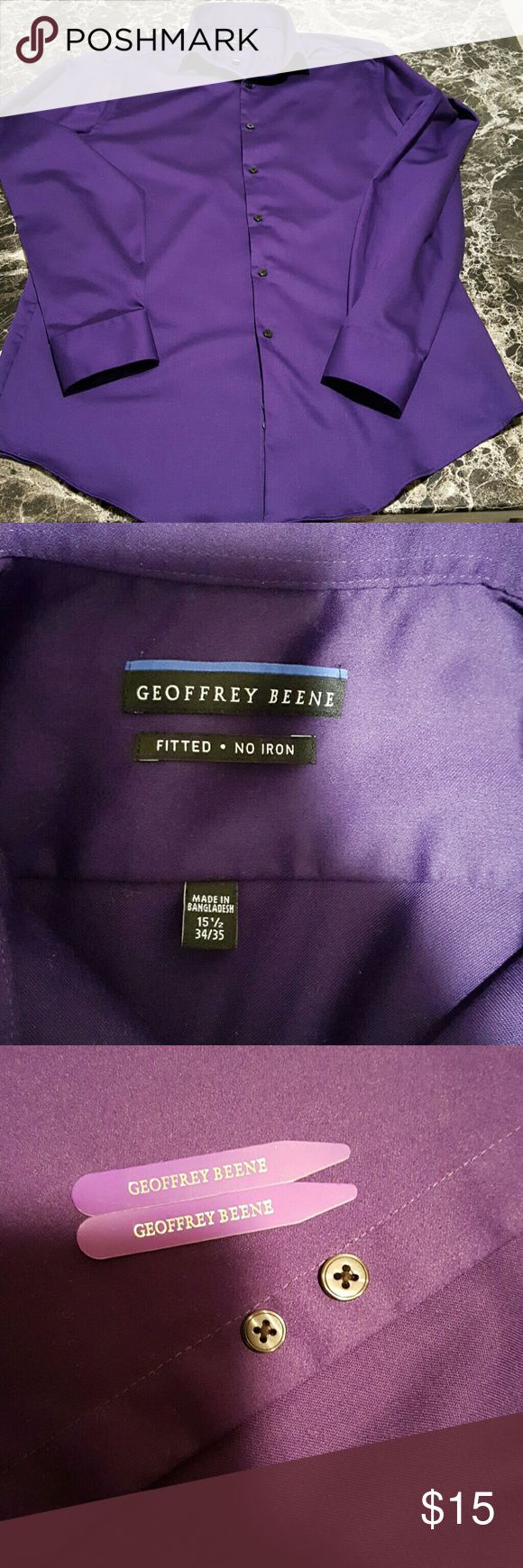 Men's Fitted No Iron Geoffrey Beene Dress Shirt Men's Fitted No Iron Geoffrey Beene Dress Shirt. Purple/Violet  Color. Size 15 1/2 34/35. Gently Used, Looks Like New. Extra Buttons and Collar Stays Included. Geoffrey Beene Shirts Dress Shirts