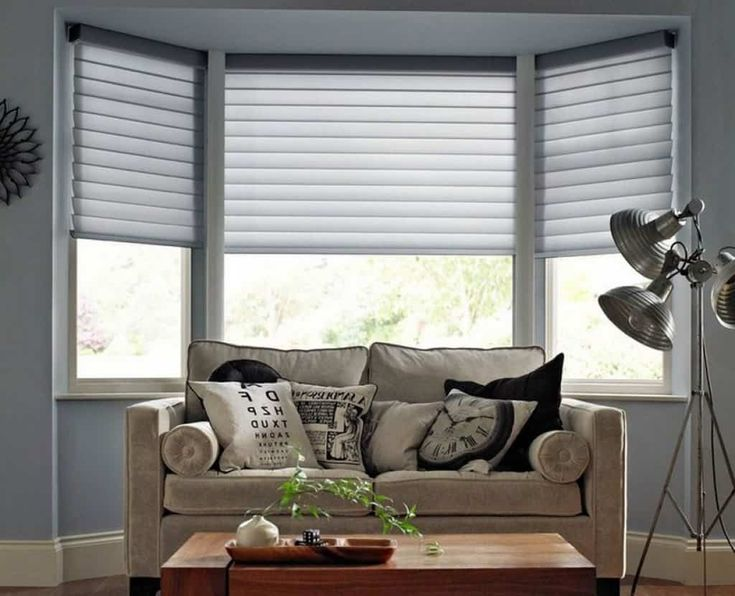 Living room bay windows decorated with grey blinds in 2019 - Living room bay window treatments ...