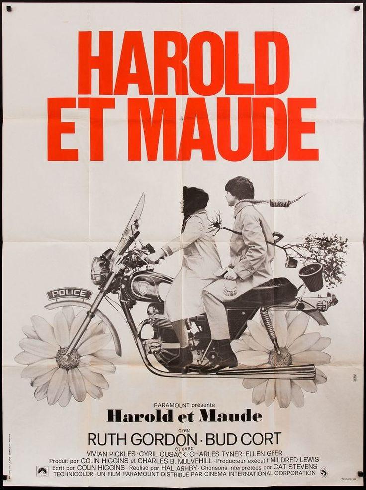 "HAROLD AND MAUDE 47x63"" Ruth Gordon Hal Ashby Bud Cort motorcycle filmartgallery"