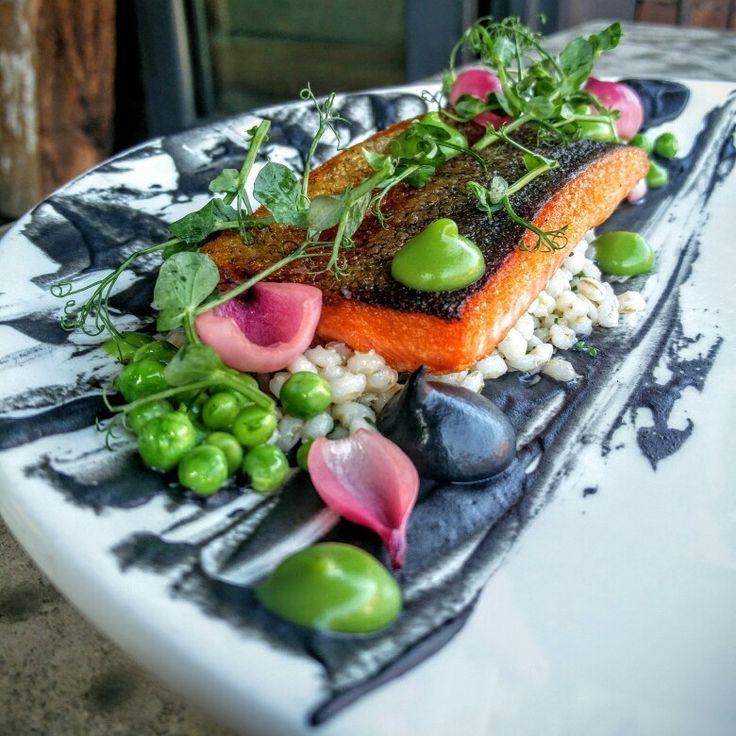 Rainbow trout. Charred eggplant. Fresh shucked peas. Barley. Pearl onions #eatlocal #newmenu