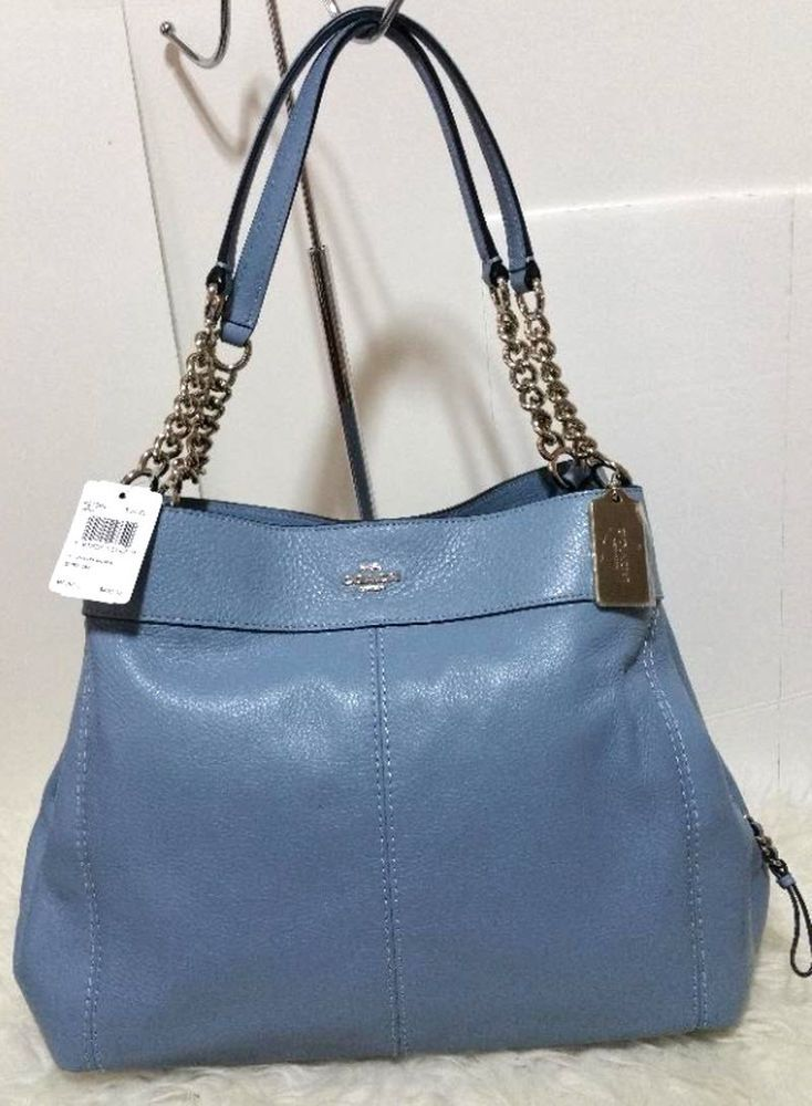dd641cfd46b3 Coach F27594 Lexy Chain Shoulder Bag Pebbled Leather tote purse Pool Blue   450  Coach  ShoulderBag