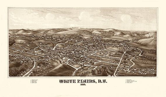 White Plains, Westchester County, New York, N.Y. 1887.  Vintage Reproduction Map.  Available in different size.