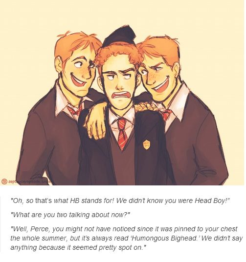 Fred, George and Percy Weasley. Happy birthday Percy Weasley!!